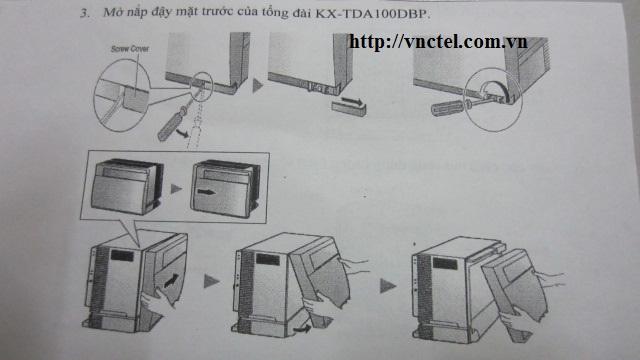 mở nắp mặt trước cho tổng đài panasonic kx-tda100d