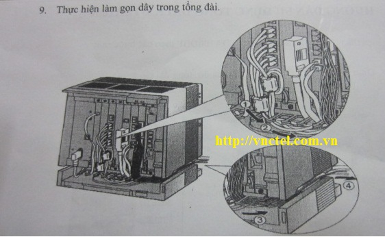 thao tác làm gọn dây cho tổng đài panasonic kx-tda100d